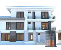 Appartamento residenziale futuro con energia esterna enorme della batteria acida Immagini Stock Libere da Diritti