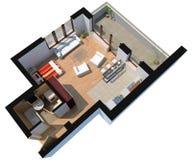 appartamento sezionato 3D con il percorso di residuo della potatura meccanica illustrazione di stock