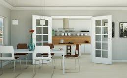 Appartamento skandinavian luminoso moderno di interior design Fotografia Stock Libera da Diritti