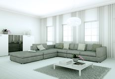 Appartamento skandinavian luminoso moderno di interior design Immagini Stock