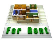 appartement 3D sur un fichier finacial pour le loyer Photo libre de droits