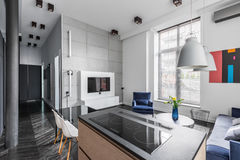 Appartement avec les tuiles grises de mur Image stock
