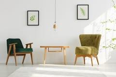 Appartement blanc avec les fauteuils verts photos stock