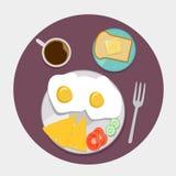 Appartement d'icônes de petit déjeuner réglé avec du temps de café illustration de vecteur