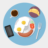 Appartement d'icônes de petit déjeuner réglé avec du temps de café illustration stock