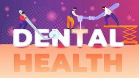 Appartement dentaire de bannière de santé d'inscription de miroir illustration stock