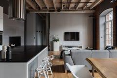 Appartement industriel avec l'île de cuisine images stock