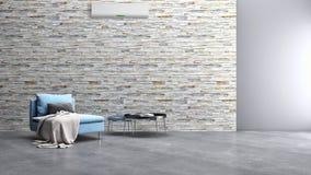 Appartement intérieur moderne avec la climatisation 3D rendant la défectuosité photographie stock