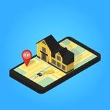 Appartement isométrique de recherche en ligne d'immobiliers Photos stock