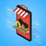 Appartement isométrique de recherche en ligne d'immobiliers illustration stock