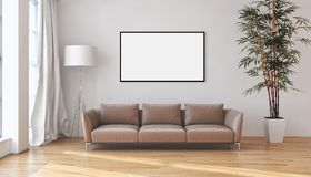 Appartement lumineux moderne d'intérieurs avec le cadre 3D d'affiche de maquette au sujet de Photo libre de droits