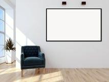 Appartement lumineux moderne d'intérieurs avec le cadre 3D d'affiche de maquette au sujet de Images libres de droits