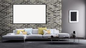 Appartement lumineux moderne d'intérieurs avec le cadre 3D d'affiche de maquette au sujet de Image libre de droits