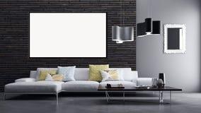 Appartement lumineux moderne d'intérieurs avec le cadre 3D d'affiche de maquette au sujet de Images stock