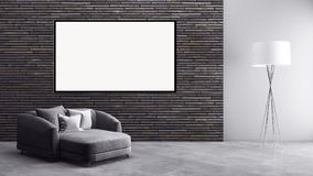 Appartement lumineux moderne d'intérieurs avec le cadre 3D d'affiche de maquette au sujet de Photographie stock