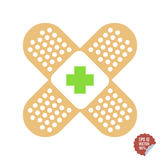 Appartement médical de correction avec la Croix-Rouge Illustration adhésive d'icône de bande Photos libres de droits