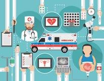 Appartement moderne de concept médical avec la femme enceinte et l'ambulance illustration de vecteur