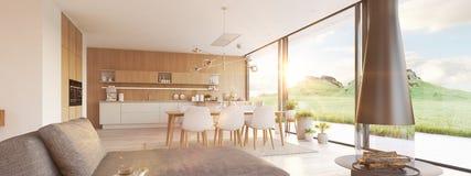 Appartement moderne de grenier rendu 3d Photos libres de droits