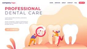 Appartement professionnel de soins dentaires d'inscription de bannière illustration stock