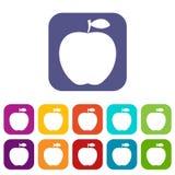 Appartement réglé par icônes d'Apple Image stock