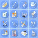 Appartement réglé par icônes de médecine Photo stock