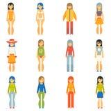Appartement réglé par icônes de personnages féminins de filles de mode Image stock