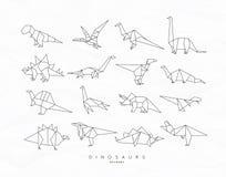 Appartement réglé par origami de Dinosaurus Photos libres de droits