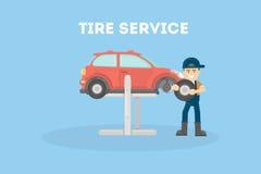 Appartement service compris de pneu illustration de vecteur