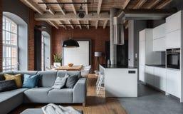 Appartement stupéfiant dans le style industriel image stock