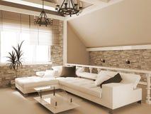 Appartement terrasse de sépia Photos stock