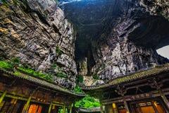 Appartement terrasse de Tienfu dans des trois ponts naturels photo stock