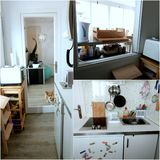 Appartement tour: Entry/kitchen (+ corgi) Royalty Free Stock Photos