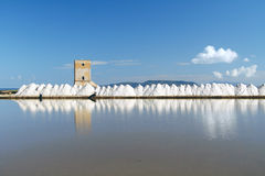 Appartements de sel de Trapani Images libres de droits