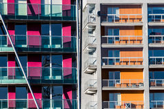 Appartements oranges et pourpres de bloc Photos libres de droits