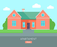 Appartment Banner Poster Template. Separete House. Exterior home icon symbol. Residential cottage in red colors. Part of series of modern buildings in flat Stock Images