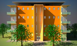 Appartment block. 3d rendering of a apartment block. Time day, one light source the entire building is in focus Royalty Free Stock Photos