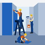 Appartment building renovation work poster Royalty Free Stock Images