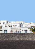 Appartments with palm tree in Playa Blanca Royalty Free Stock Photos