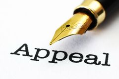 Appeal. Close up of Appeal text Stock Image