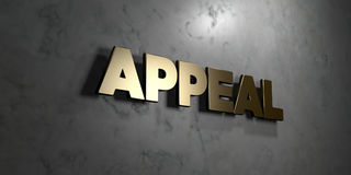 Appeal - Gold sign mounted on glossy marble wall  - 3D rendered royalty free stock illustration Royalty Free Stock Photos