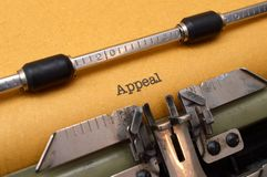 Appeal text on typewriter Stock Photo