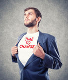 Appeal to change. The young businessman motivates to change Royalty Free Stock Photography