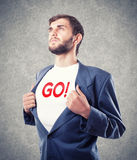 Appeal to go. The young businessman motivates to go Stock Photography
