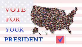 Appeal to vote on presidential election with map of USA Stock Photography