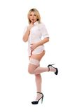 Appealing blond girl in white stockings Royalty Free Stock Photo
