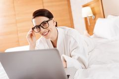 Appealing glad woman working hard Royalty Free Stock Photography