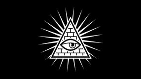 Appearance. All seeing eye. Sign Masons. Black background. Alpha channel stock footage