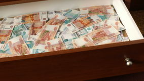 Appearance of big sum of russian rubles stock video footage