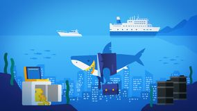 Appearance and disappearance. Business shark in ocean. City in Ocean. Safe with Gold Barrels of Oil. Tourist Ship and Yacht.