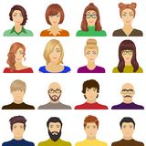 Appearance of the girl in glasses, a guy with a hairdo, a bald man with a beard and other varieties of face. Faces and Stock Photo